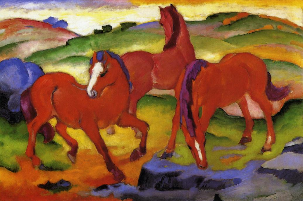 Wikioo.org - The Encyclopedia of Fine Arts - Painting, Artwork by Franz Marc - Grazing Horses IV (also known as The Red Horses)