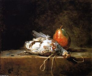 Grey Partridge, Pear and Snare on a Stone Table
