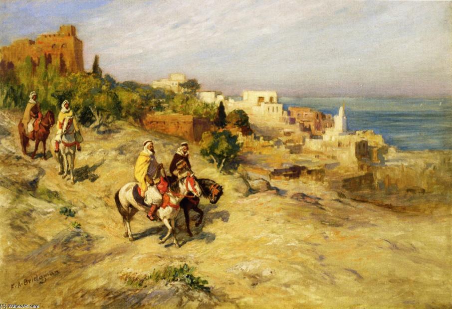 Wikioo.org - The Encyclopedia of Fine Arts - Painting, Artwork by Frederick Arthur Bridgman - Horsemen on a Coastal Path, Algiers