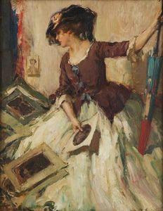 Jeune femme comtemplant de croquis with Parasol