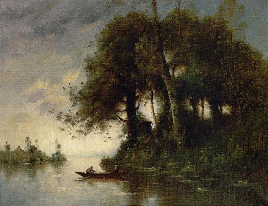 Wikioo.org - The Encyclopedia of Fine Arts - Painting, Artwork by Paul Désiré Trouillebert - Landscape at the Water's Edge