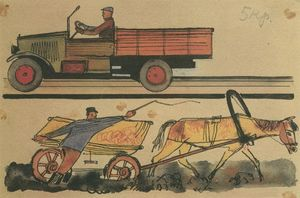 Motorization in the USSR. Figure for children's book
