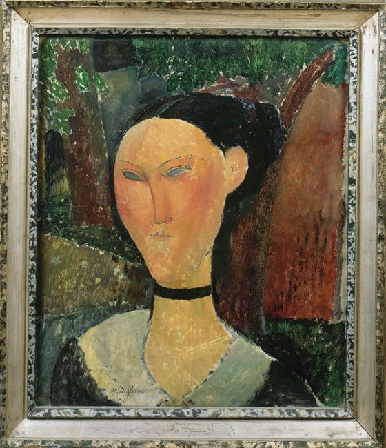 Wikioo.org - The Encyclopedia of Fine Arts - Painting, Artwork by Amedeo Modigliani - A woman with velvet ribbon