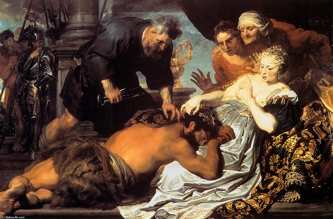 Wikioo.org - The Encyclopedia of Fine Arts - Painting, Artwork by Anthony Van Dyck - Samson and Delilah