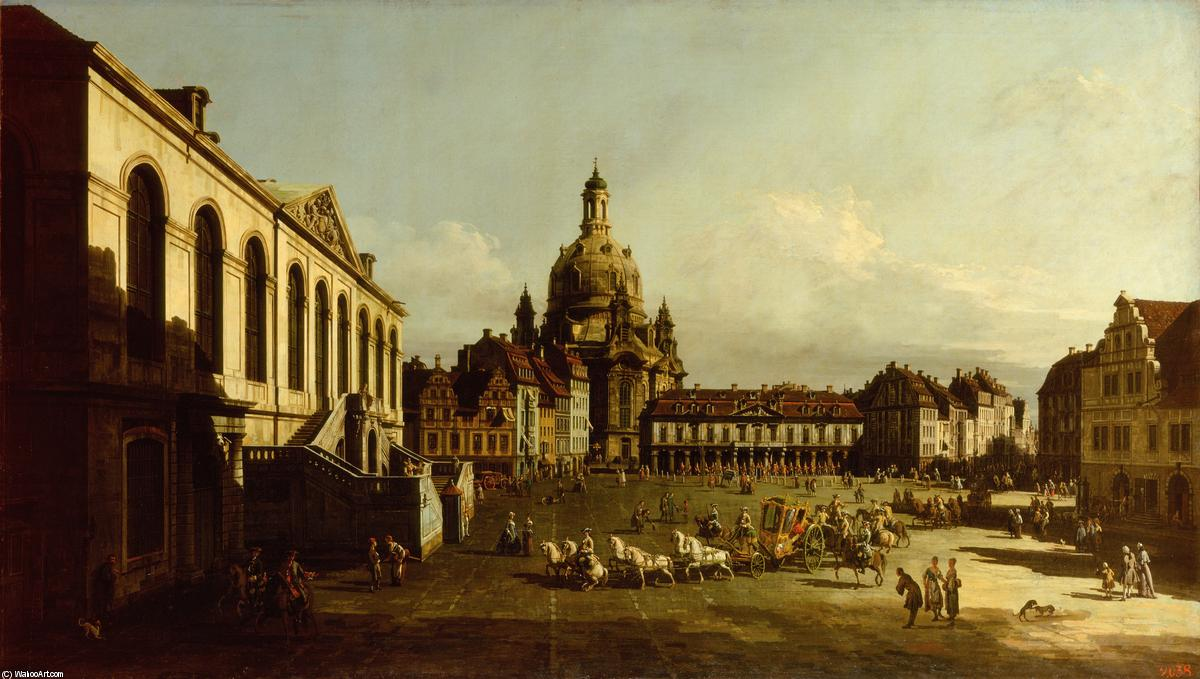 Wikioo.org - The Encyclopedia of Fine Arts - Painting, Artwork by Bernardo Bellotto - The Neuer Marktplatz in Dresden