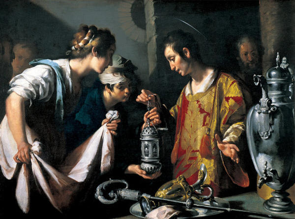 Wikioo.org - The Encyclopedia of Fine Arts - Painting, Artwork by Bernardo Strozzi - St. Lawrence Distributing the Riches of the Church