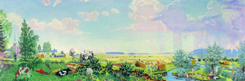 Wikioo.org - The Encyclopedia of Fine Arts - Painting, Artwork by Boris Mikhaylovich Kustodiev - Summer (A trip to the Terem)