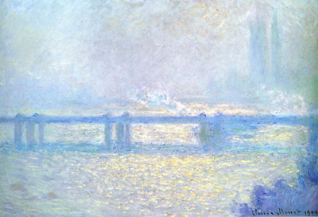 Wikioo.org - The Encyclopedia of Fine Arts - Painting, Artwork by Claude Monet - Charing Cross Bridge, Overcast Weather