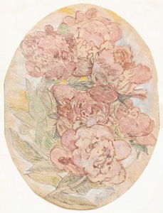 A draft for embroidery. Peonies.