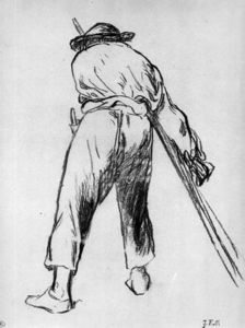 Sketch of moving farmer