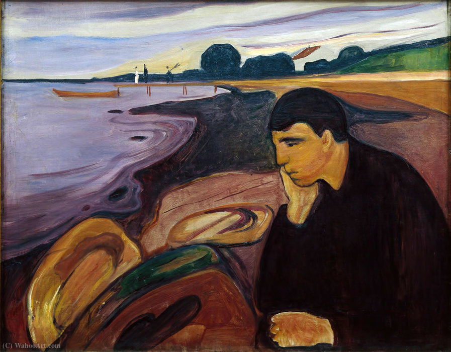 Wikioo.org - The Encyclopedia of Fine Arts - Painting, Artwork by Edvard Munch - Melancholy