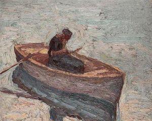 Figure in a rowing boat