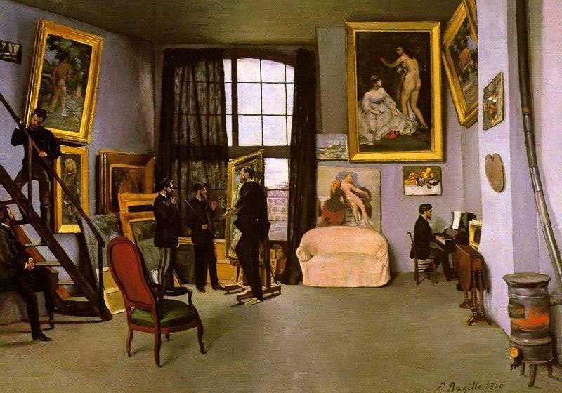 Wikioo.org - สารานุกรมวิจิตรศิลป์ - จิตรกรรม Jean Frederic Bazille - The Artist's Studio, Rue de la Condamine