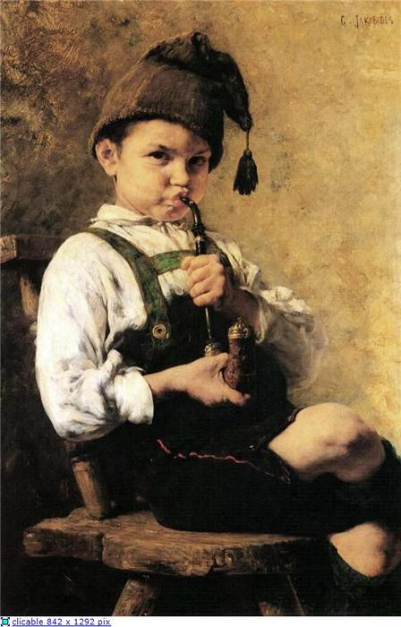 Wikioo.org - The Encyclopedia of Fine Arts - Painting, Artwork by Georgios Jakobides - The Smoker