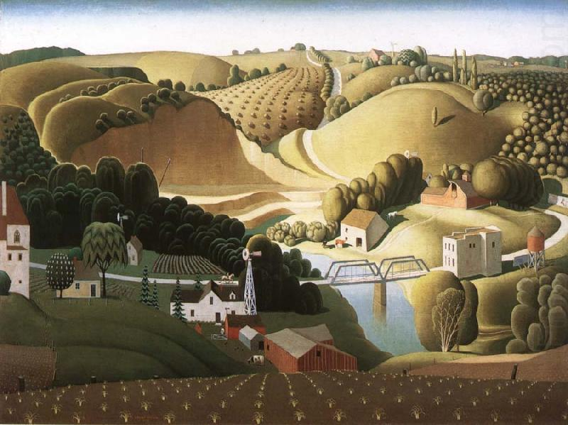 Wikioo.org - The Encyclopedia of Fine Arts - Painting, Artwork by Grant Wood - Stone city, Iowa