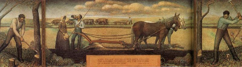 Wikioo.org - The Encyclopedia of Fine Arts - Painting, Artwork by Grant Wood - A short break from pasture work