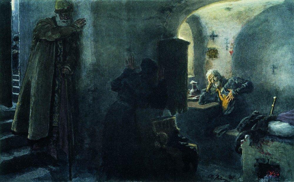 WikiOO.org - 百科事典 - 絵画、アートワーク Ilya Yefimovich Repin - モンクフィラレートはAntonievo-Siyskiy修道院で投獄します