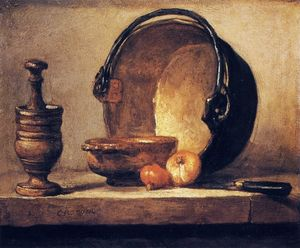 Still Life with Pestle, Bowl, Copper Cauldron, Onions and a Knife