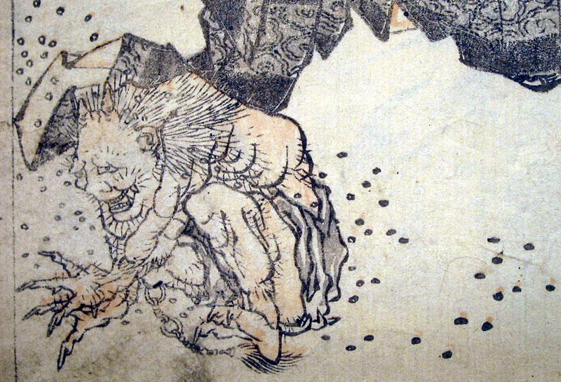 Wikioo.org - The Encyclopedia of Fine Arts - Painting, Artwork by Katsushika Hokusai - Oni pelted by beans