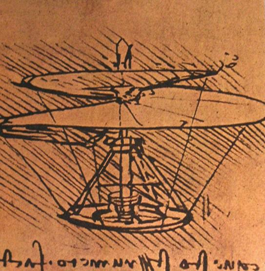 Wikioo.org - The Encyclopedia of Fine Arts - Painting, Artwork by Leonardo Da Vinci - Design for a helicopter