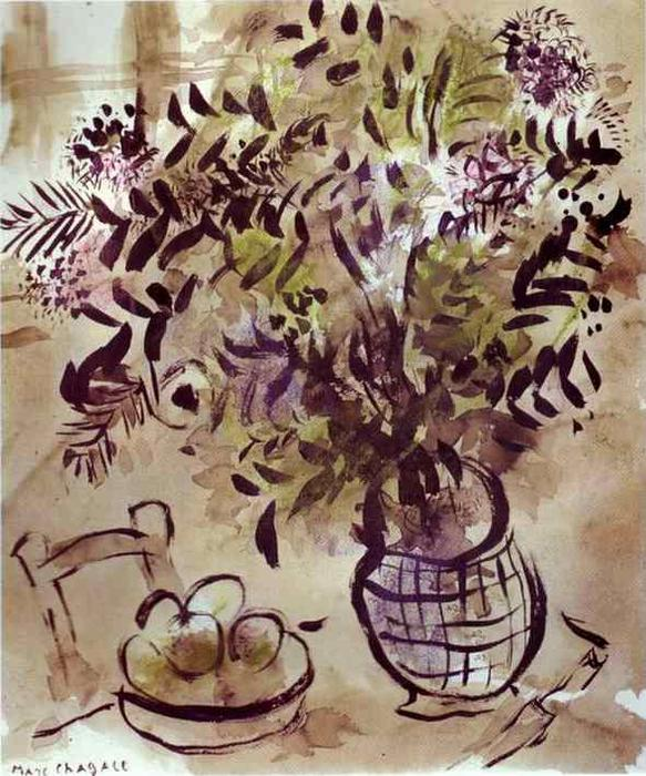Wikioo.org - The Encyclopedia of Fine Arts - Painting, Artwork by Marc Chagall - Still Life with Vase of Flowers