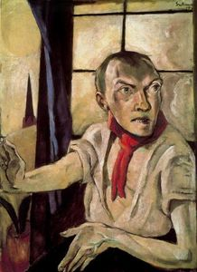 Self-portrait with red scarf