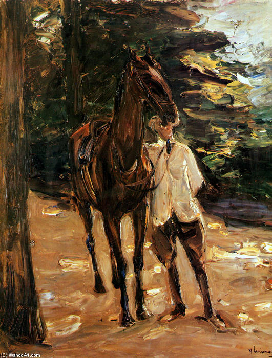 Wikioo.org - The Encyclopedia of Fine Arts - Painting, Artwork by Max Liebermann - Man with horse