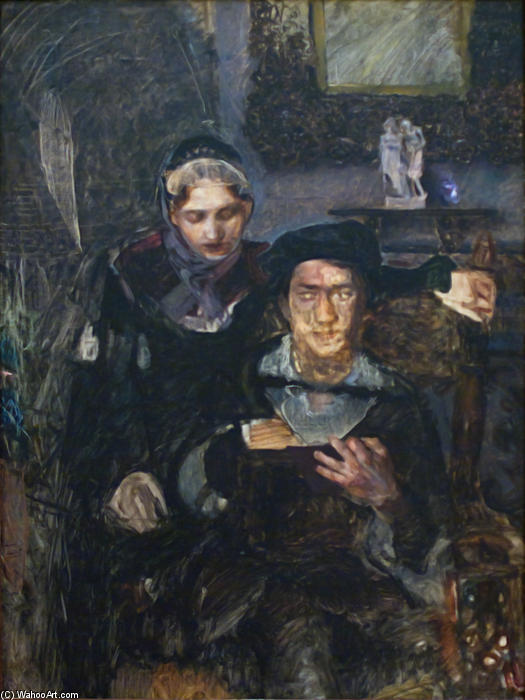 Wikioo.org - The Encyclopedia of Fine Arts - Painting, Artwork by Mikhail Vrubel - Hamlet and Ophelia