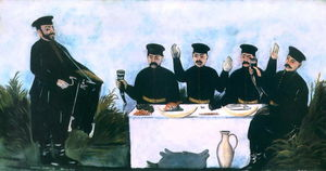 Feast with Barrel Organist Datico - Niko Pirosmani