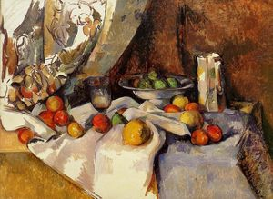 Still Life Post, Bottle, Cup and Fruit