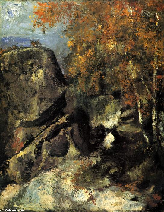 WikiOO.org - Encyclopedia of Fine Arts - Lukisan, Artwork Paul Cezanne - Rock in the Forest of Fontainbleau