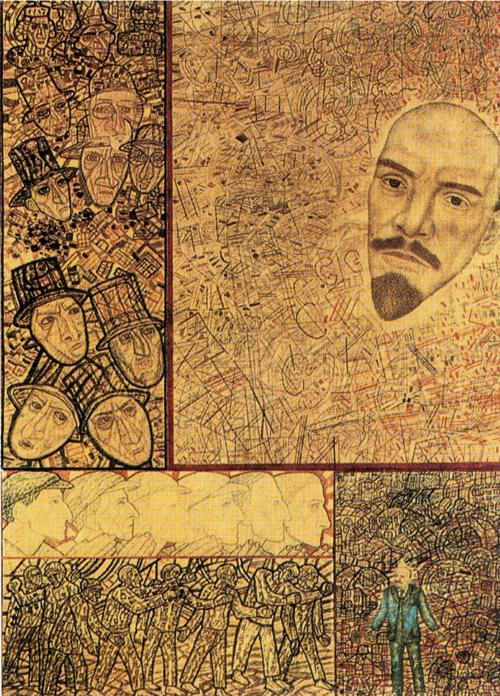 Wikioo.org - The Encyclopedia of Fine Arts - Painting, Artwork by Pavel Filonov - GOELRO (Lenin s Plan for the Electrification of Russia)