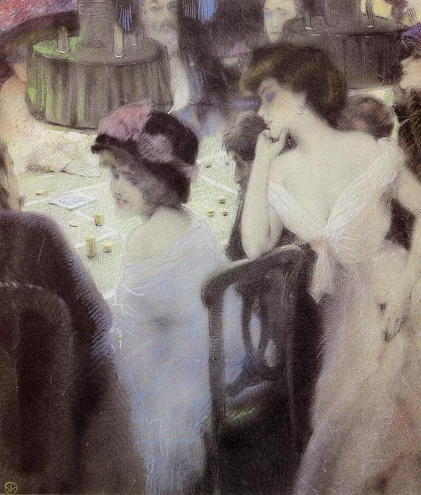 Wikioo.org - The Encyclopedia of Fine Arts - Painting, Artwork by Raphael Kirchner - The Players (pastel on paper)