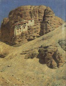 Monastery in a Rock. Ladakh