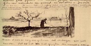 Stooping Woman in Landscape