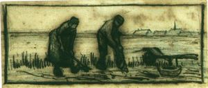 Potato Harvest with Two Figures