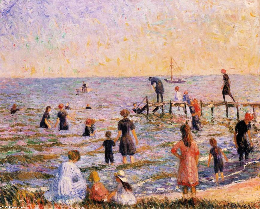 Wikioo.org - The Encyclopedia of Fine Arts - Painting, Artwork by William James Glackens - Bathing at Bellport, Long Island