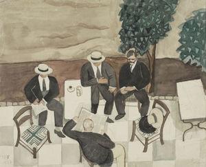Four men at a cafe