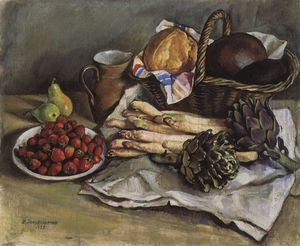 Still life with asparagus and strawberries