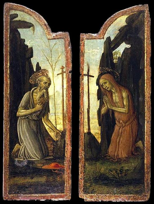 Wikioo.org - The Encyclopedia of Fine Arts - Painting, Artwork by Jacopo Del Sellaio - St Jerome and St Mary of Egypt