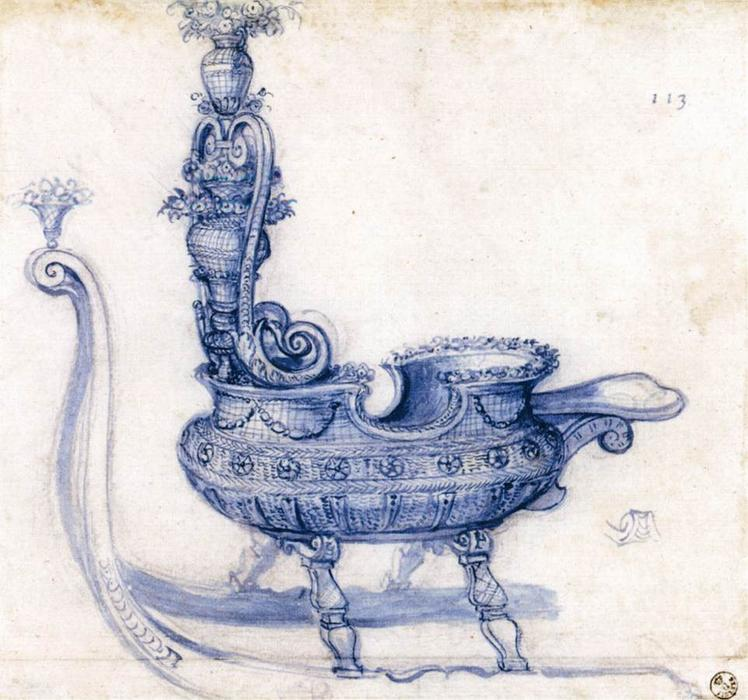 Wikioo.org - The Encyclopedia of Fine Arts - Painting, Artwork by Giuseppe Arcimboldo - Sketch for a Sleigh Shaped like a Basket of Flowers