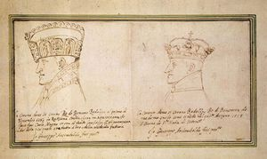 Two portraits of Rudolf II with crown
