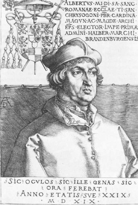 Wikioo.org - The Encyclopedia of Fine Arts - Painting, Artwork by Albrecht Durer - Cardinal Albrecht of Brandenburg or, The Small Cardinal