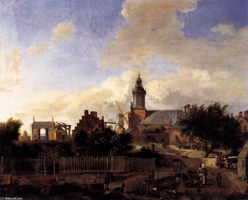 Wikioo.org - The Encyclopedia of Fine Arts - Painting, Artwork by Jan Van Der Heyden - Amsterdam: Street before Haarlem Tower