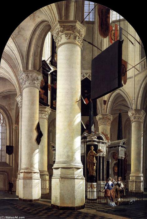 Wikioo.org - The Encyclopedia of Fine Arts - Painting, Artwork by Gerard Houckgeest - Interior of the Nieuwe Kerk, Delft, with the Tomb of William the Silent