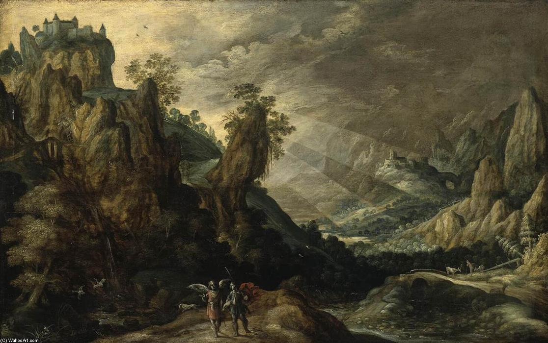 Wikioo.org - The Encyclopedia of Fine Arts - Painting, Artwork by Kerstiaen De Keuninck - Landscape with Tobias and the Angel