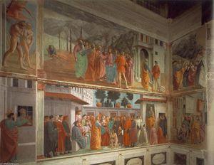 Frescoes in the Cappella Brancacci (left view)