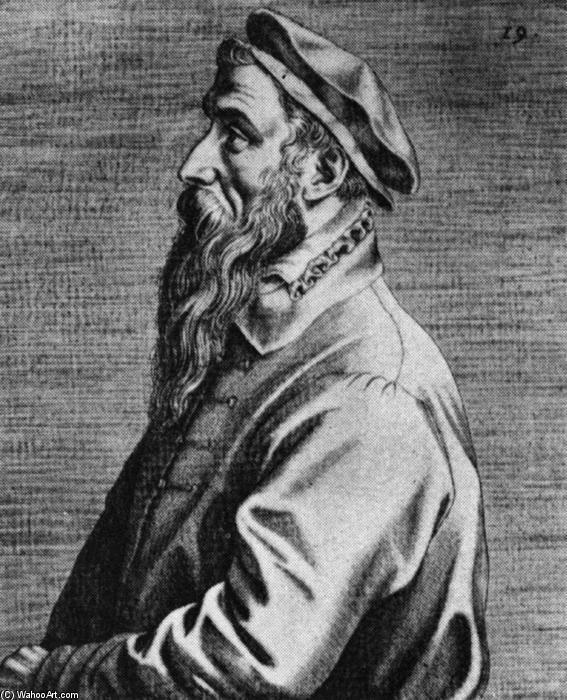 Wikioo.org - The Encyclopedia of Fine Arts - Painting, Artwork by Dominicus Lampsonius - Portrait of Pieter Bruegel the Elder