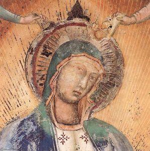 Madonna in gloria con  musicista  angeli  particolare