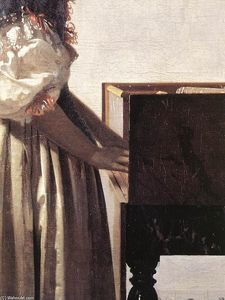 Lady Standing at a Virginal (detail)